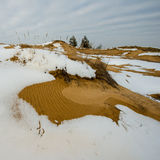 Melting snow and sand dunes, Stock Image