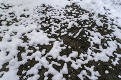 Melting snow is showing land Stock Images