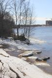 Snow on rivers beach two Royalty Free Stock Photography