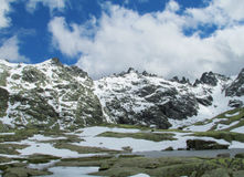 Melting snow in spring mountains Stock Images