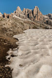 Melting snowfield in Dolomites Royalty Free Stock Photography