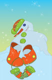 Melting Snowman with boots and mittens Stock Photography