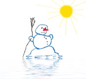 Melting snowman Stock Photography