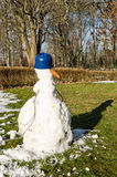 Melting snowman with shadow Royalty Free Stock Photo