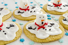 Melting Snowmen Decorated Sugar Cookies Stock Photography
