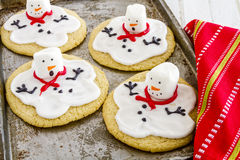 Melting Snowmen Decorated Sugar Cookies Stock Image