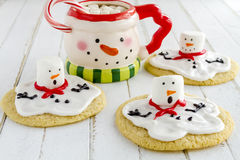 Melting Snowmen Decorated Sugar Cookies Stock Photo