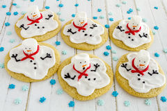 Melting Snowmen Decorated Sugar Cookies Royalty Free Stock Images