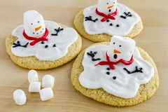 Melting Snowmen Decorated Sugar Cookies Stock Photos
