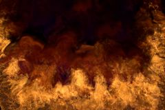 Melting space hell on black background, half frame with dense smoke - fire from the left and right corners and bottom - fire 3D. Flames from both image corners royalty free illustration