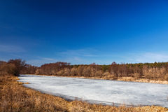 Melting spring ice on the lake. Stock Photography