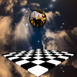 Melting time. High Resolution Burning melting clock over chessboard Royalty Free Stock Photography