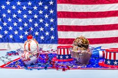 Melting vanilla and chocolate ice cream patriotic background Royalty Free Stock Images