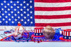Melting vanilla and chocolate ice cream patriotic background Royalty Free Stock Photos