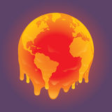 Melting world b. Melting planet earth vector draw royalty free illustration