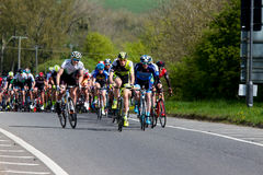 Melton classic cycle race. Sunday April 23rd 2017 The Melton classic cycle race. The lead riders climb the first hill out of Oakham around Rutland Water Royalty Free Stock Photo