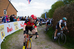 Melton Classic cycle race. Sunday April 23rd 2017 The Melton classic cycle race. The lead riders leaving the rough terrain on sector six into Owston Royalty Free Stock Photo