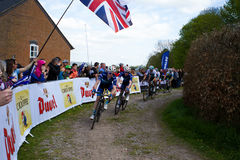 Melton Classic cycle race. Sunday April 23rd 2017 The Melton classic cycle race. The lead riders leaving the rough terrain on sector six into Owston Stock Photo