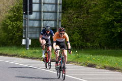 Melton Classic cycle race. Sunday April 23rd 2017 The Melton classic cycle race. The lead ridersclimb the first hill out of Oakham around Rutland water Stock Photos