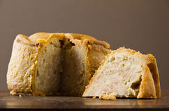 Melton Mowbray pork pie cut low shot Royalty Free Stock Image