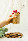 Meltsglass med hallon i en glass krus Utrymme för text Royaltyfri Foto