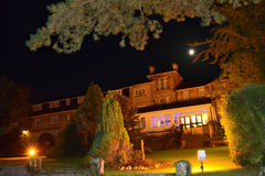 Melville Hall Hotel at Night. Melville Hall Hotel is a medium sized hotel with 30 rooms and is situated in Sandown on the Isle of Wight. Here it can be seen Royalty Free Stock Photo
