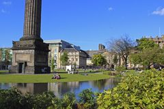 Melville monument and park in central Edinburgh Royalty Free Stock Image