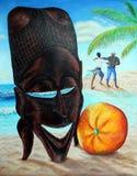 Memórias de Cabo Verde Máscara africana, laranja, aborígene de dança, oceano, praia Pintura acrílica no papel ilustração royalty free