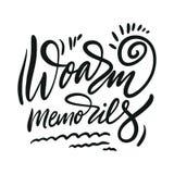 Memórias de Woarm Rotula??o tirada m?o das cita??es do vetor Tipografia inspirador Isolado no fundo branco ilustração do vetor