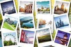 Memórias mostradas em fotos do polaroid - férias de Eurotrip de verão imagens de stock