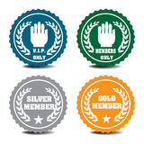 Member badges. Four isolated member badges with various messages Royalty Free Stock Photography