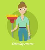 Member of Cleaning Service with Broom and Duster Royalty Free Stock Image