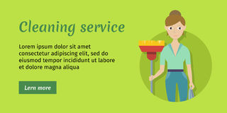Member of Cleaning Service with Broom and Duster Stock Photo