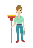 Member of Cleaning Service with Broom and Duster Stock Photos
