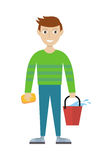 Member of Cleaning Service with Bucket and Sponge. Stock Photos