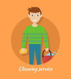 Member of Cleaning Service with Bucket and Sponge. Stock Images