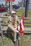 Member of a color guard with an American flag, in Lima Montana Royalty Free Stock Images