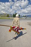 Member of a color guard carrying an American flag, in Lima Montana Royalty Free Stock Image