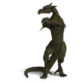 Member of the fantasy dragon folk. 3D rendering of a Member of the fantasy dragon folk with clipping path and shadow over white royalty free illustration