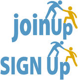 Member helps people sign up join group icon. Member helps a person sign up to join a group company or website icons Royalty Free Stock Image
