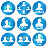 Member icons. A set of icons with member, membership, community and sign up icons Royalty Free Stock Image