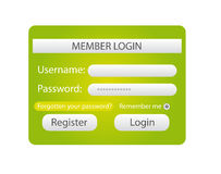 Member login. Green and white member login web isolated over white background. vector Stock Photo