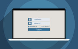 Member login. Concept for information security and personal data protection. Flat design illustration Stock Images