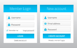 Member login and new account website forms Royalty Free Stock Photography