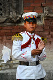 Member of the Military Orchestra of Nepal Stock Photo
