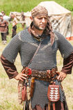 Member of the National Festival of Rozhen in Bulgarian in the ancient chain mail Stock Photos