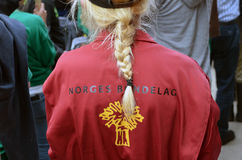 A member of Norwegian Agrarian Association. A female member of the Norwegian Agrarian Association (Norsk Bondelag) during a protest rally against the Norwegian Royalty Free Stock Photography