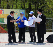 The member of Parliament James Pasternak. Awarding the members of Jewish community at Lag B'Omer celebration  in Earl Bales Park in May 18, 2014 in Toronto Royalty Free Stock Photography