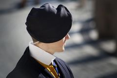 VATICAN CITY, ITALY - DECEMBER 12, 2015: A member of the Pontifical Swiss Guard, Vatican. A member of the Pontifical Swiss Guard, Vatican stock photo