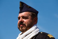 Member of Red Star history club wears historical French Air Force uniform during historical reenactment of WWII Royalty Free Stock Images